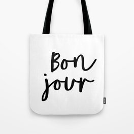 Bonjour black and white monochrome typography poster home wall decor bedroom minimalism Tote Bag