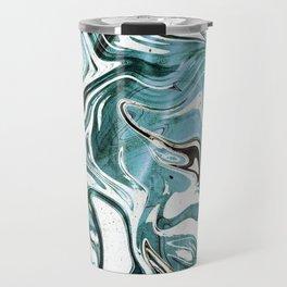 Liquid Teal Marble Travel Mug
