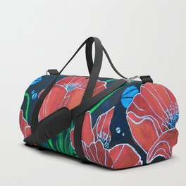 Stylized Red Poppies Duffle Bag