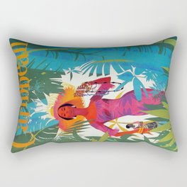 Vintage Colorful Caribbean Tropical Travel Poster Banana Leaves Palm Trees Woman Rectangular Pillow