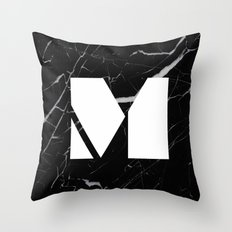 Black Marble - Alphabet M Throw Pillow