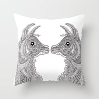 llama Throw Pillows featuring Llama by Olya Goloveshkina