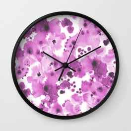 Lilla - watercolor paint inky spots abstract painting trendy decor Wall Clock