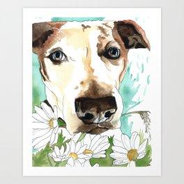 Watercolor Wildflowers & her Bestie Art Print