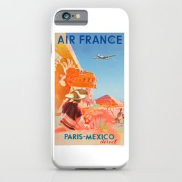 1952 AIR FRANCE Paris Mexico Direct Travel Poster iPhone Case