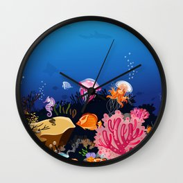 Beautiful Coral Reef Animals Wall Clock