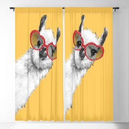 Fashion Hipster Llama with Glasses Blackout Curtain