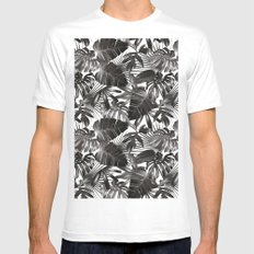 palm leaves grey seamless pattern Mens Fitted Tee White LARGE