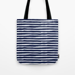 Navy Blue Stripes on White II Tote Bag