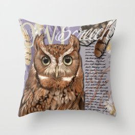 The Screech Owl Journal Throw Pillow