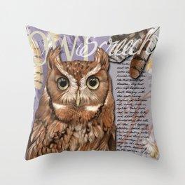 The Screech Owl Journal Throw Pillow