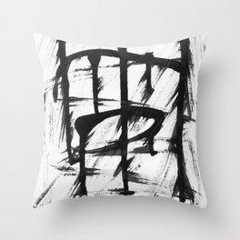 Black brush stripes Throw Pillow