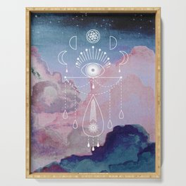 Magic Totem on Night Sky with Pink Clouds Serving Tray