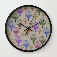 hot air balloons Wall Clocks featuring Colorful Hot Air Balloons by Zen and Chic
