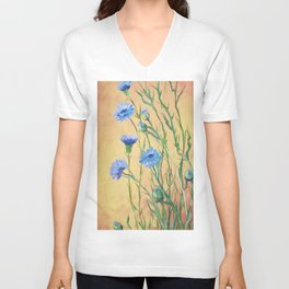 Bachelor Buttons, Flower Painting, by Faye Unisex V-Neck