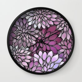 Stain Glass Floral Abstract - Purple-Lavender Wall Clock