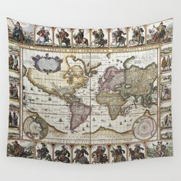 Old World map 1652 Wall Tapestry