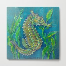 Sea Horse #3 Original Art By Catherine Coyle Metal Print