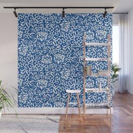 Blue Tudor Rose Damask Wall Mural