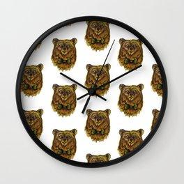 Curmudgeonly Bear Print Wall Clock