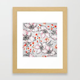 Red And Grey Floral Pattern Framed Art Print