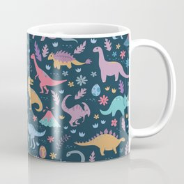 Dinosaur + Flowers Pattern Coffee Mug