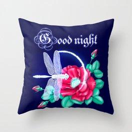 Full bloom | Dragonfly loves roses Throw Pillow