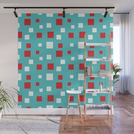Red and White Squares on Blue Wall Mural