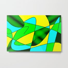 ABSTRACT CURVES #2 (Greens, Light Blue & Yellow) Metal Print