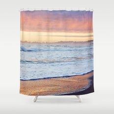 Vibrant Sunset over the Stacks at Huntington Beach, California Shower Curtain