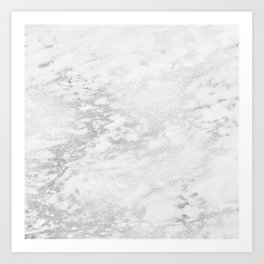 Light Grey Marble Silver Glitter Gray Kunstdrucke