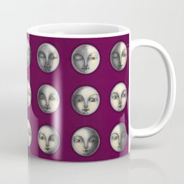 moon phases on dark purple Coffee Mug