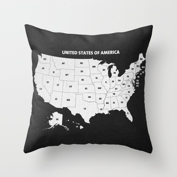 Black White U S A Map Throw Pillow By Champagne Society6