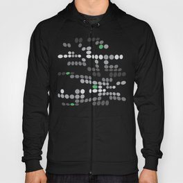 Dottywave - Grey and green wave dots pattern Hoody
