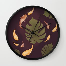 Koi fishes in Monstera, Leaves, Plant Wall Clock