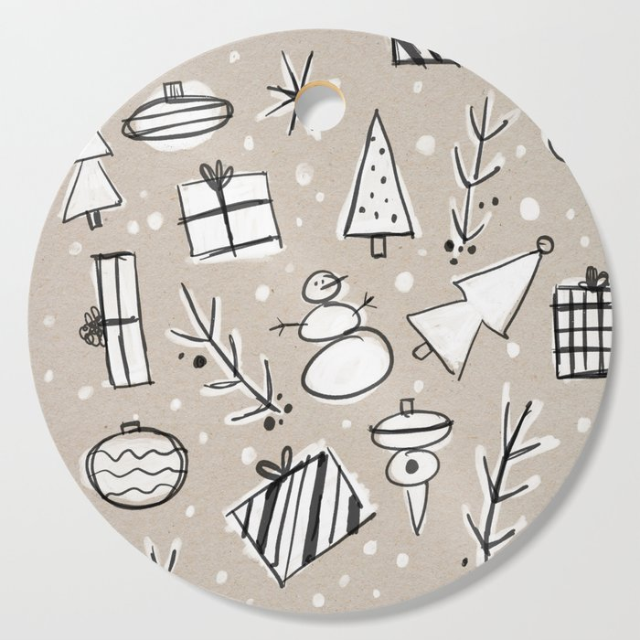 Christmas White and Kraft Sketches Cutting Board