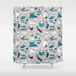 Life is better with books a hot drink and a friend // grey background brown white and blue beagles and cats and turquoise cozy details Shower Curtain