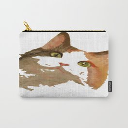 I'm All Ears - Cute Calico Cat Portrait Carry-All Pouch