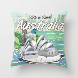 Australia vintage travel poster Throw Pillow