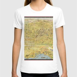 Vintage Bird's Eye Map Illustration - Greater Los Angeles, California (1932) T-shirt