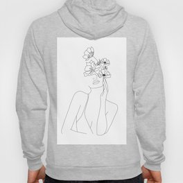 Minimal Line Art Woman with Flowers Hoodie