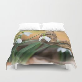 Opposites new and old in the garden Duvet Cover