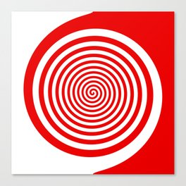 Red and White Spiral Canvas Print