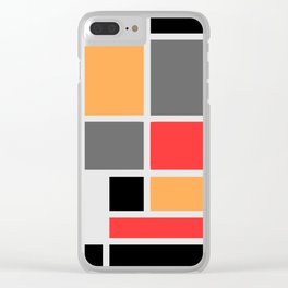 Mondrianista orange red black and gray Clear iPhone Case