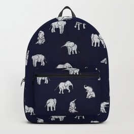 Indian Baby Elephants in Navy Backpack