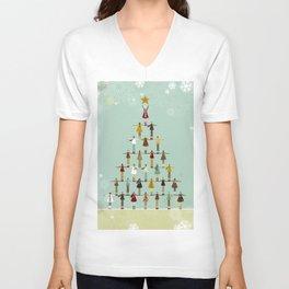 Christmas tree made of children Unisex V-Neck
