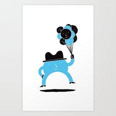 Blue-Boy Balloon Art Print