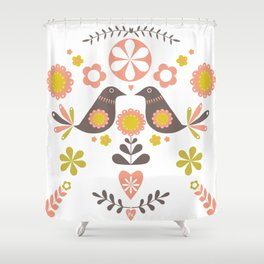 Scandinavian Folk Bird Print  Shower Curtain