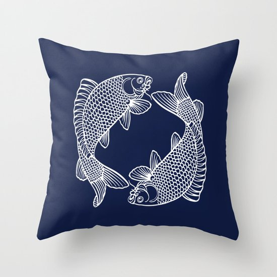 Indigo Blue Throw Pillow : Indigo Navy Blue Koi Throw Pillow by Beautiful Homes Society6
