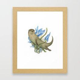 River Otter and Kyanite Framed Art Print